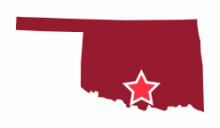 Map image of South Central Oklahoma